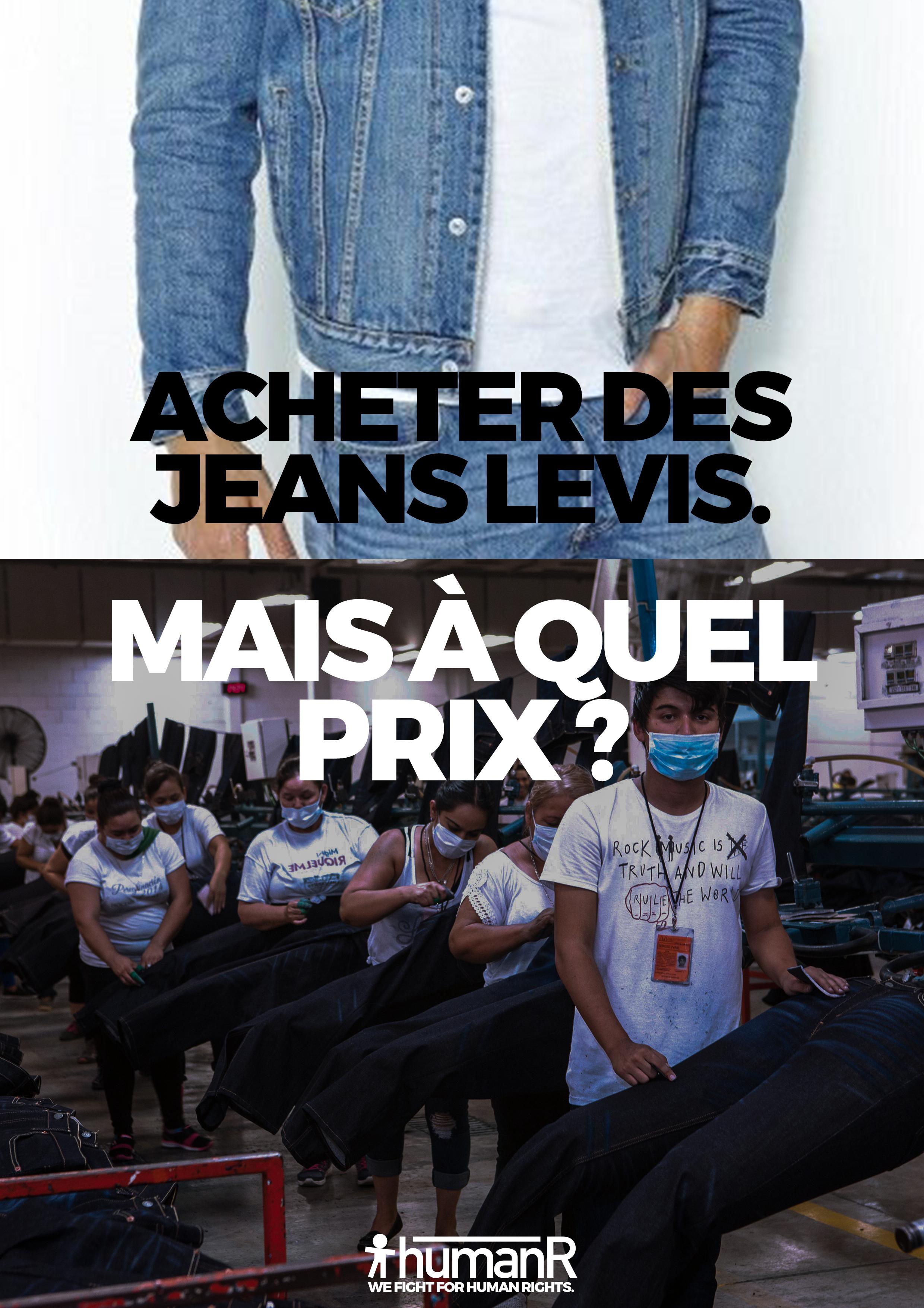 Poster denouncing Levis