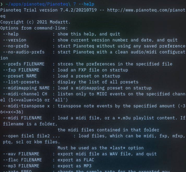 The help page showing the different command line options for _Pianoteq_
